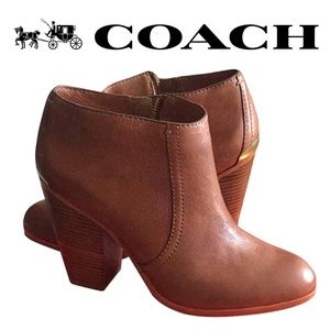 COACH Brown Hattie Leather Heeled Bootie Boots